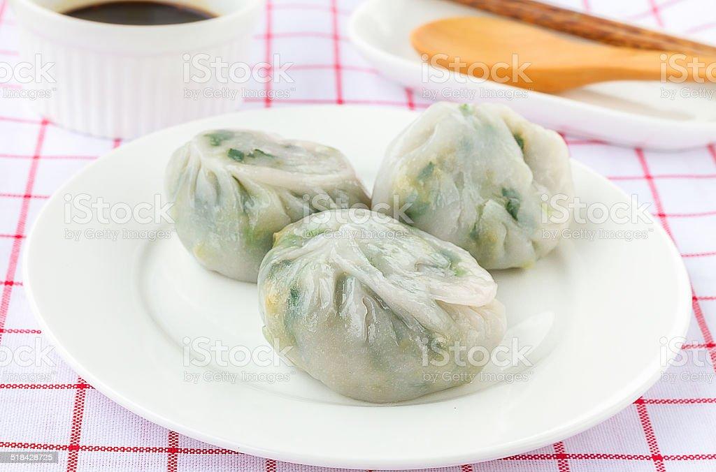 Garlic chives with soy source - Allium tuberosum stock photo