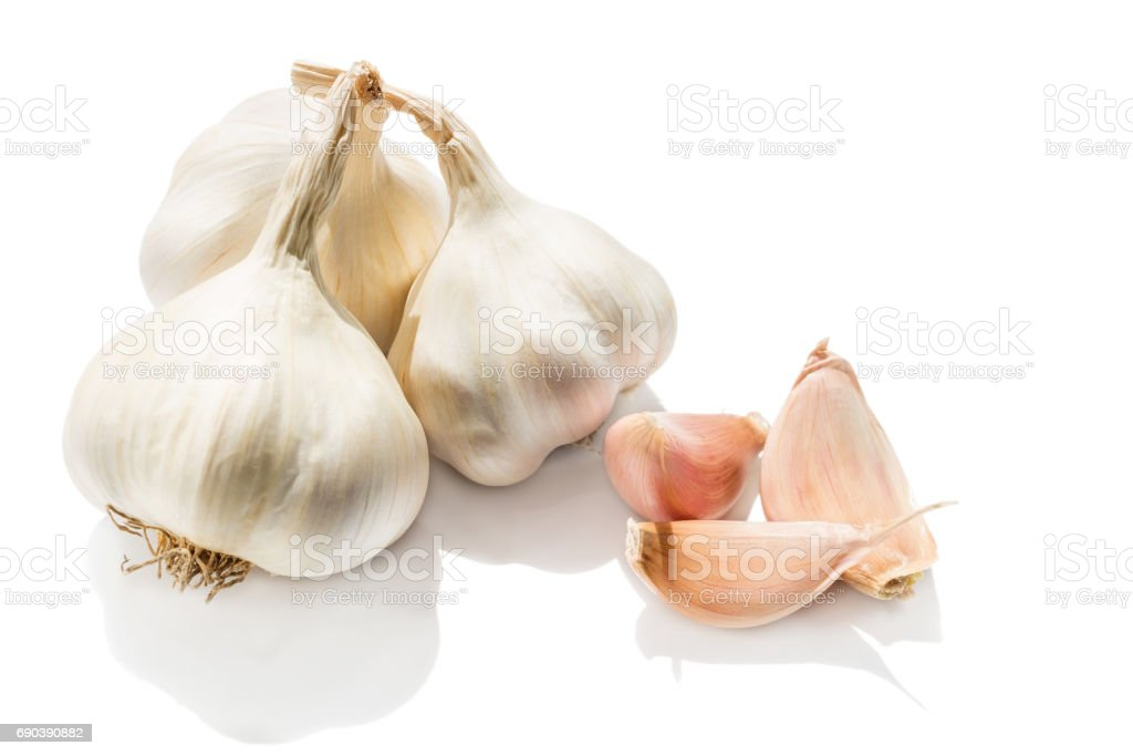 Garlic Heads And Cloves Isolated On White Background Stock