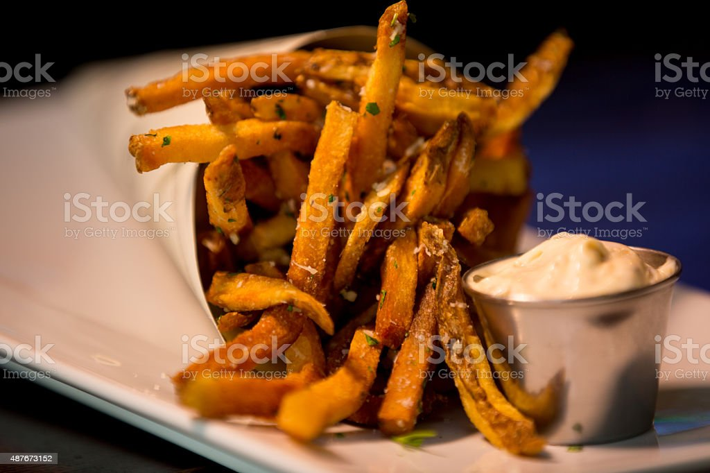 Garlic Herb French Fries stock photo