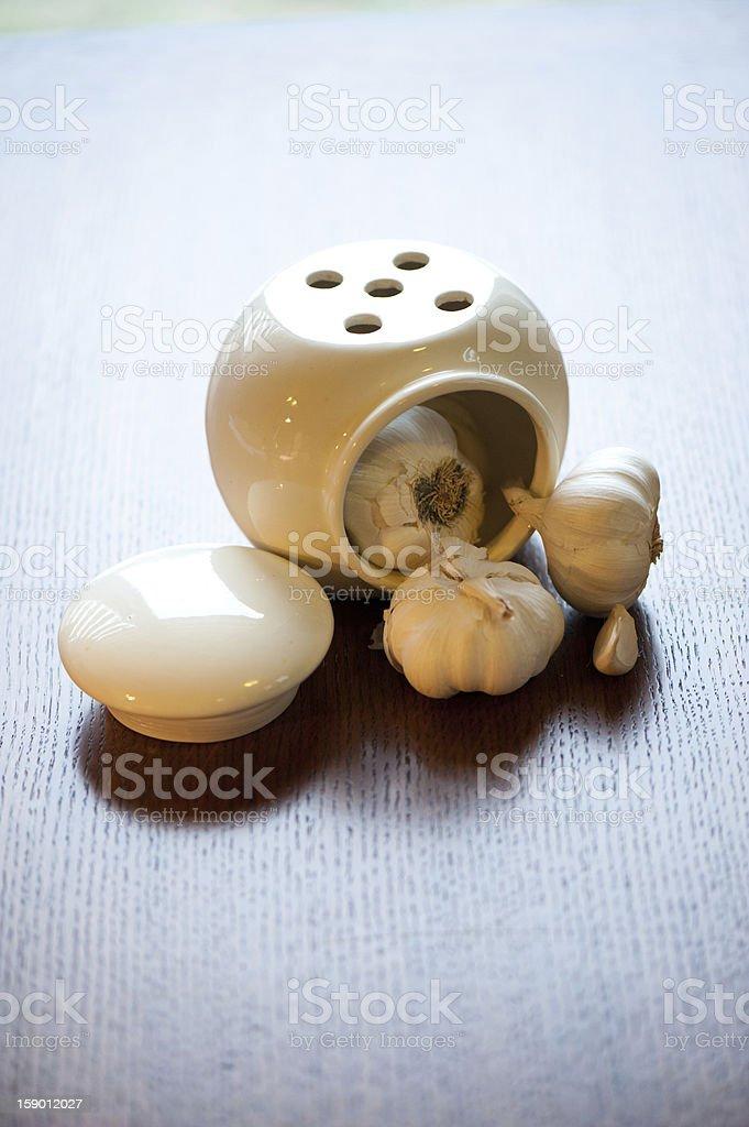 Garlic in the jar royalty-free stock photo