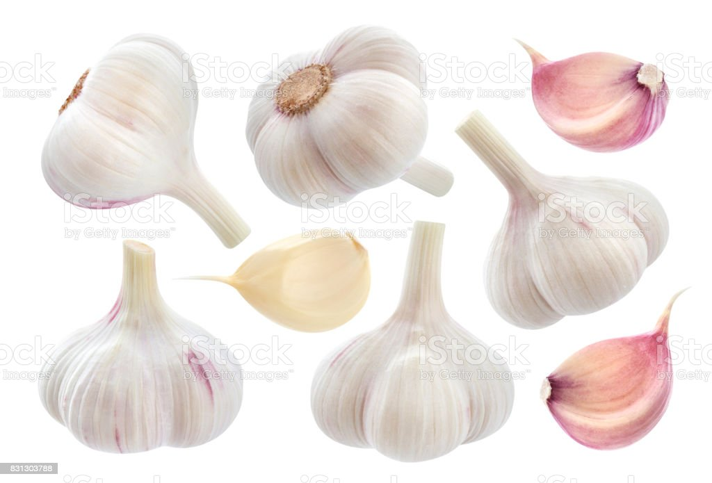 Garlic isolated on white background. Collection - foto stock