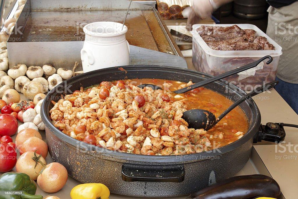 camerones mojo de ajo, gambas al ajillo, prawns with garlic stock photo