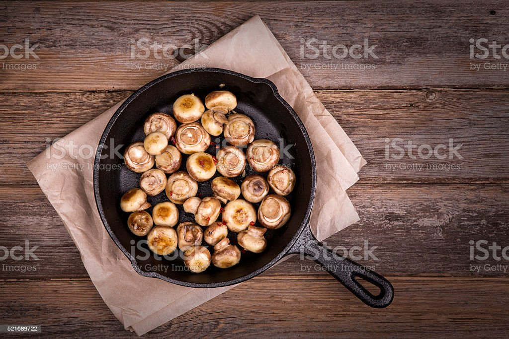 Garlic mushrooms stock photo