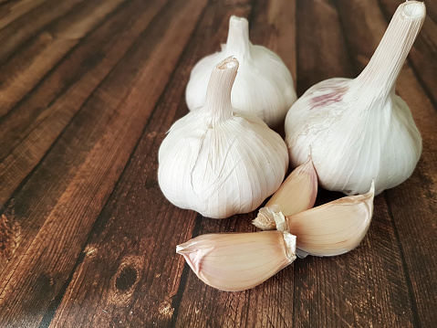 garlic on a wooden background