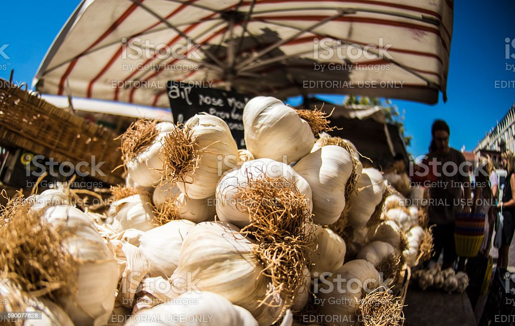 Garlic on sale in Nice, France stock photo