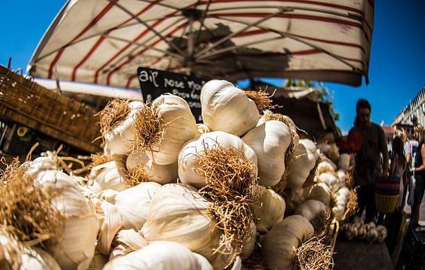 Garlic on sale in Nice, France stock photo