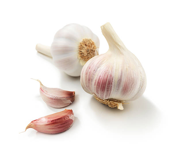 Garlic + pieces stock photo