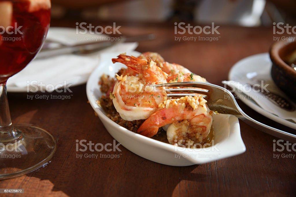 Garlic prawns, gambas al ajillo traditional spanish tapas stock photo