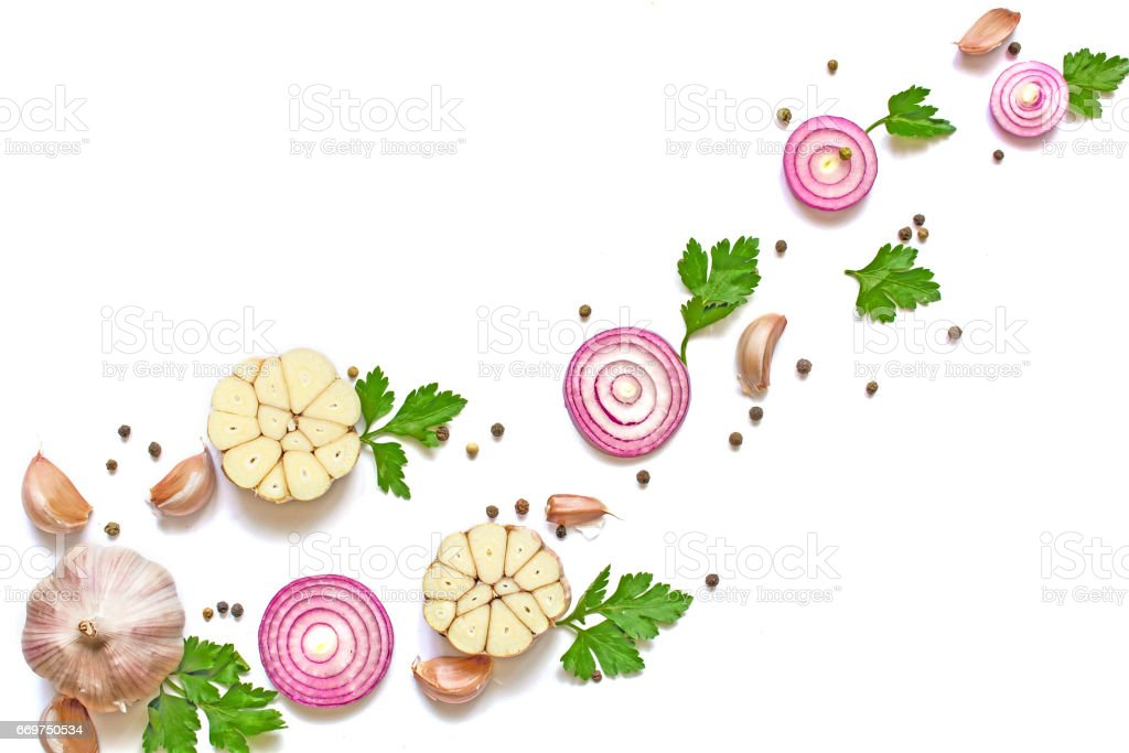 garlic, red onion, parsley and pepper isolated on white background. stock photo