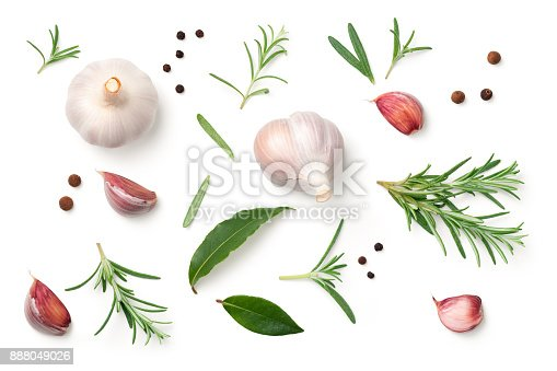 istock Garlic, Rosemary, Bay Leaves, Allspice, Pepper Isolated on White Background 888049026