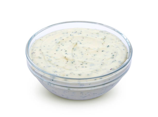 Garlic sauce isolated on white background Garlic sauce in bowl isolated on white background with clipping path dipping sauce stock pictures, royalty-free photos & images