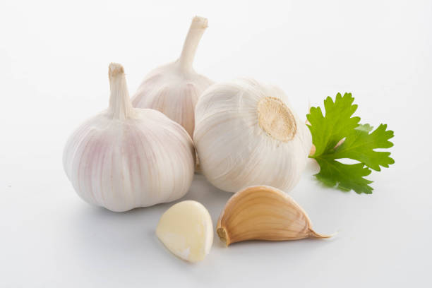 garlic with leaves of parsley isolated on white - garlic stock photos and pictures