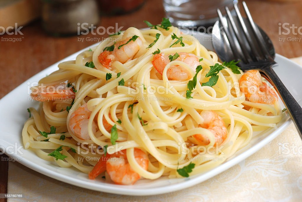 Garlicky prawn pasta royalty-free stock photo