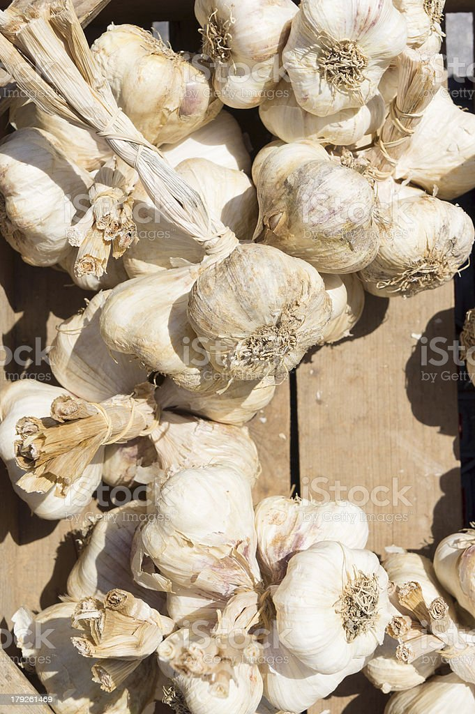Garlics in an open market royalty-free stock photo