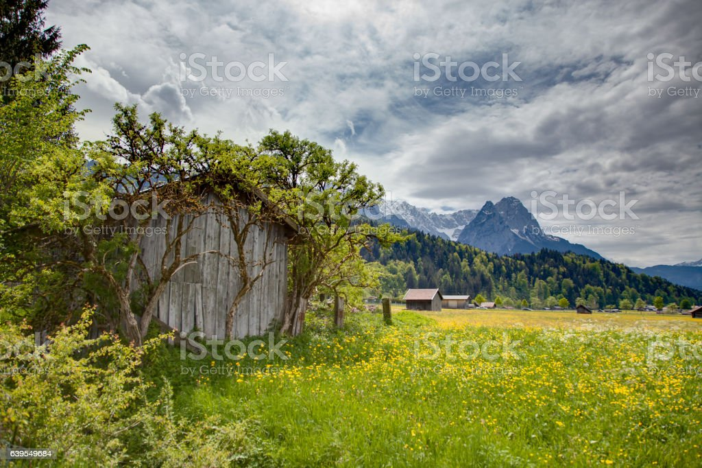 Garmisch meadow with hut in front and mountain in the back – Foto
