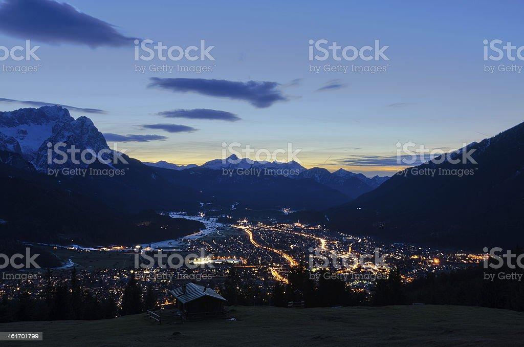 Garmisch-Partenkirchen at Night royalty-free stock photo
