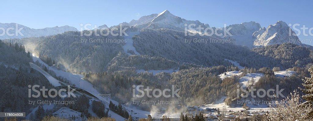 Garmisch-Partenkirchen, Zugspitze and the ski jump royalty-free stock photo