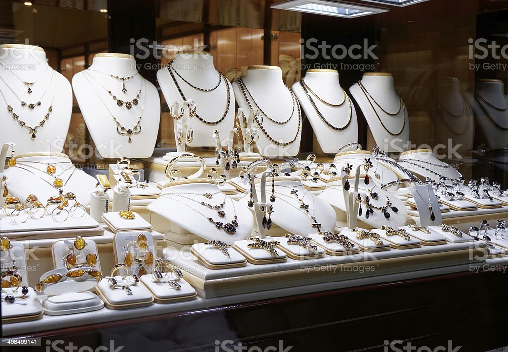 Garnet jewelry shop stock photo