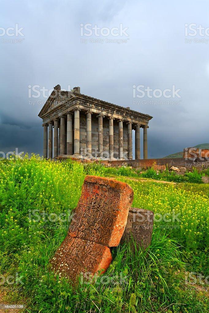 Garni pagan Temple among the green vegetation (Armenia) stock photo