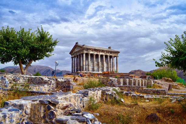 Garni Pagan Temple, the hellenistic temple in Republic of Armenia Garni Pagan Temple, the hellenistic temple in Republic of Armenia yerevan stock pictures, royalty-free photos & images