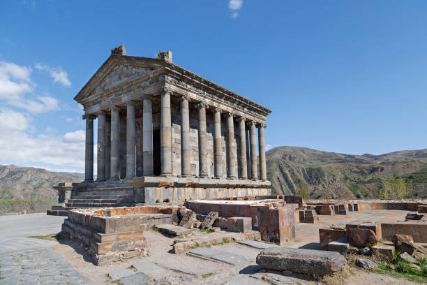 Garni Temple, Armenia Hellenistic era pagan temple of Garni, in the town of Garni, Armenia. yerevan stock pictures, royalty-free photos & images