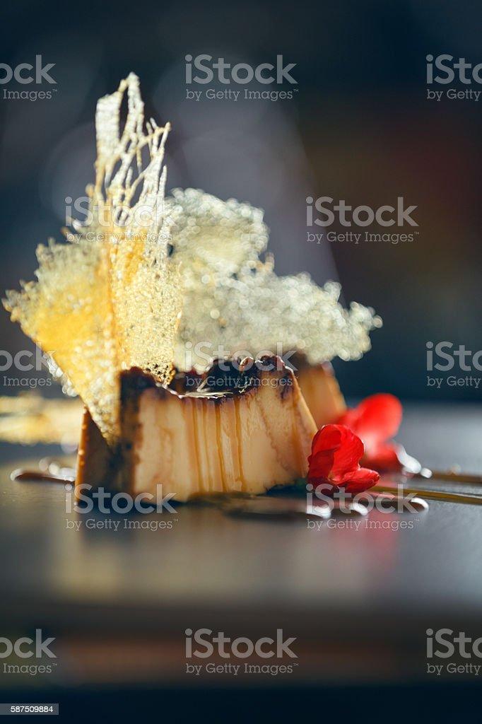 Garnished caramel flan stock photo
