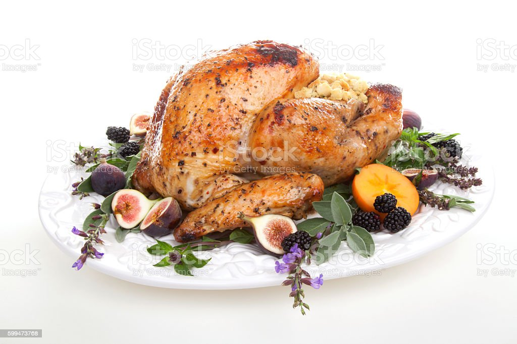 Garnished turkey on serving tray stock photo