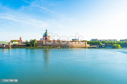 Garonne river and Dome de la Grave in Toulouse, France