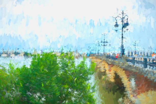 rivière garonne à bordeaux, lampadaires sur le pont du pont de pierre - france photos et images de collection