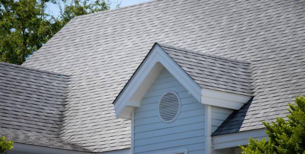 dachhaus und dachschindeln auf dem dach des hauses unter vielen bäumen. dunkle asphaltziegel auf dem dach - dach stock-fotos und bilder