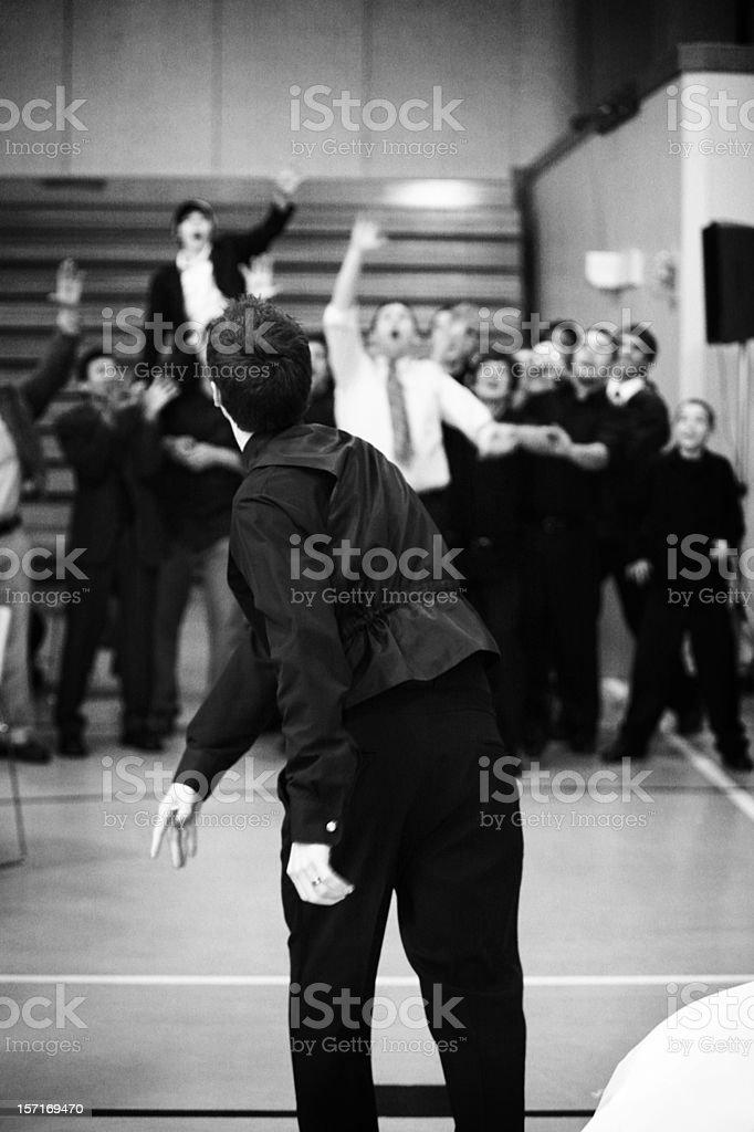Garter Toss Black and White Portrait stock photo