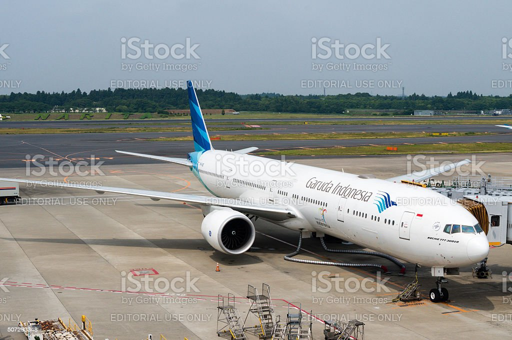 Garuda Indonesia Plane on Airport Tarmac stock photo