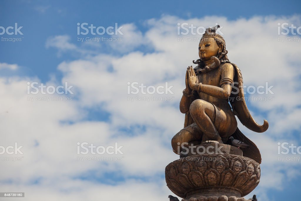 Garuda statue at Patan square, Kathmandu, Nepal. stock photo