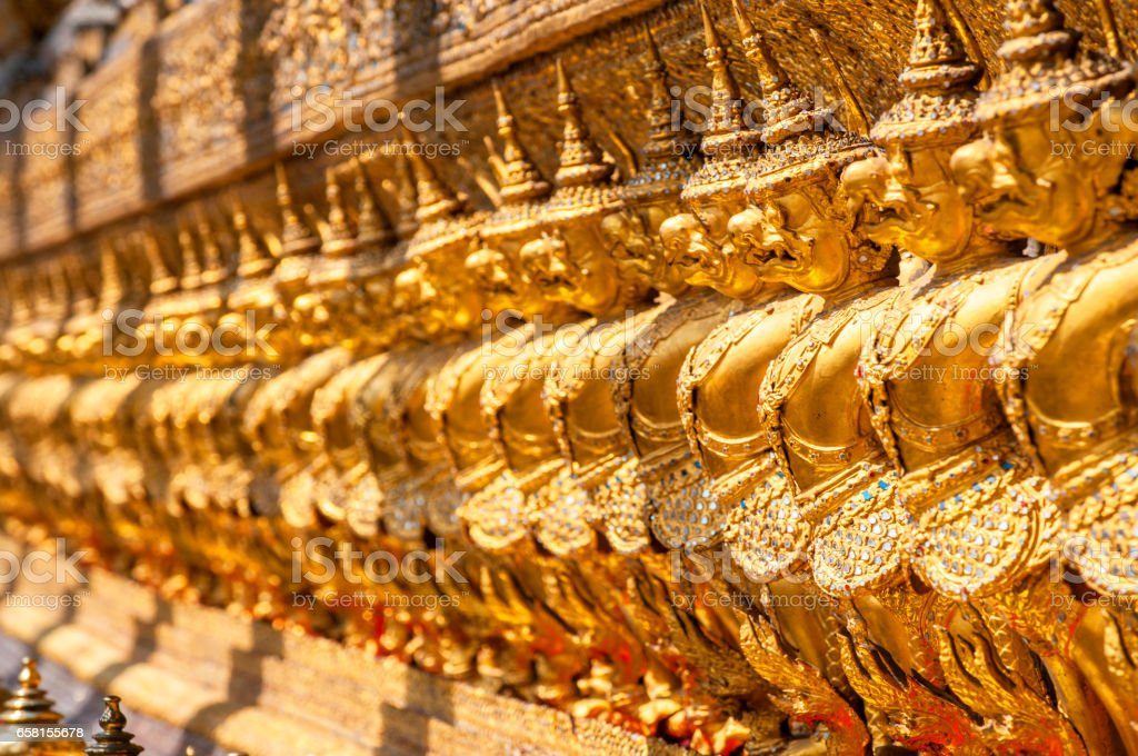 Garudas and nagas, Wat Phra Kaew in Bangkok. stock photo