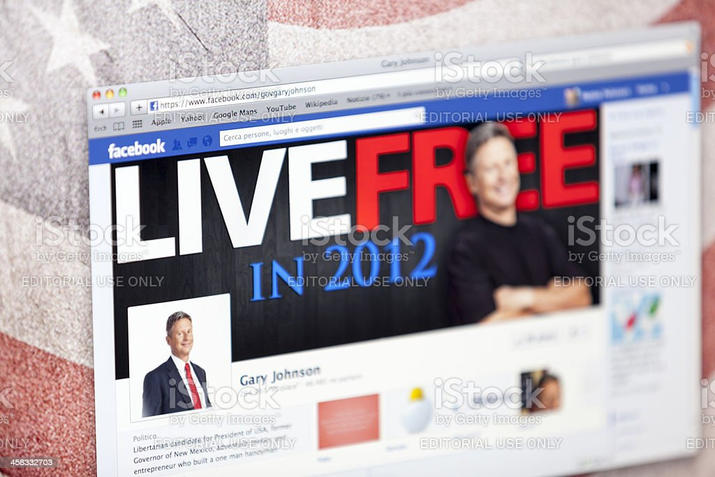 Gary Johnson Facebook Fan Page royalty-free stock photo