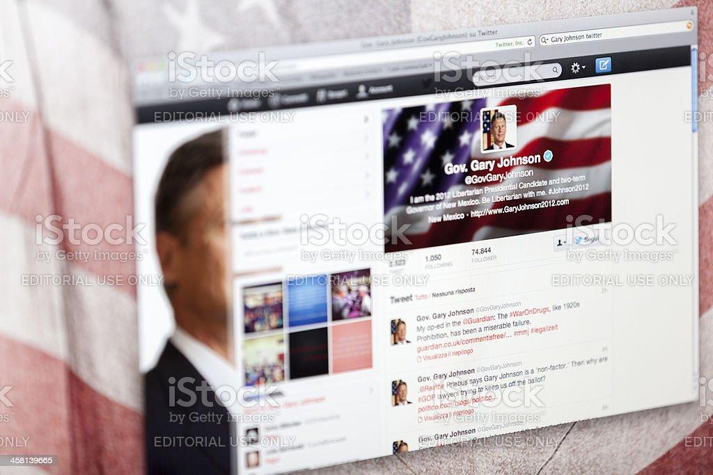 Gary Johnson Twitter Fan Page stock photo
