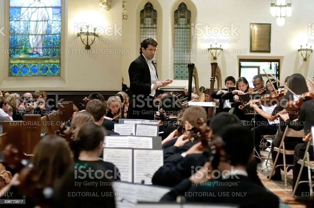 Gary White Conducting Philadelphia Sinfonia Youth Orchestra stock photo