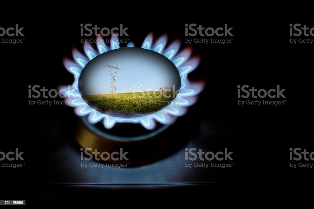 Gas and electricity for protection of enviroment stock photo