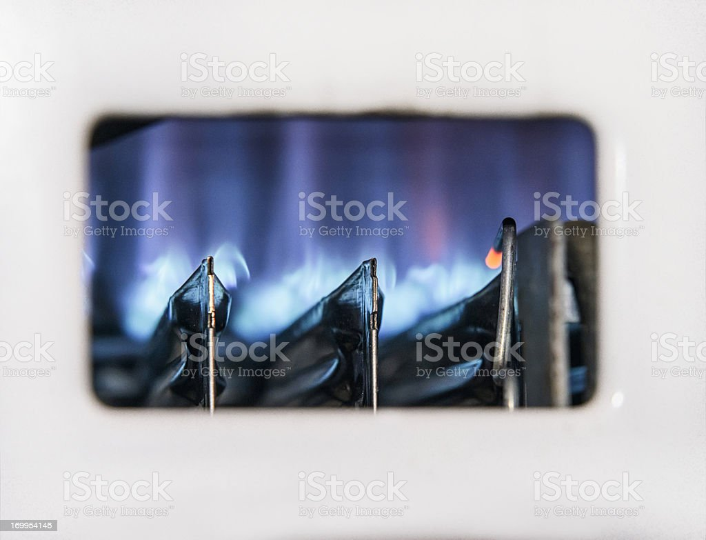 Gas Boiler Flame Close-up stock photo