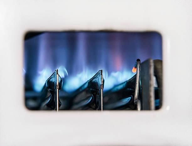 Gas Boiler Flamme Nahaufnahme – Foto