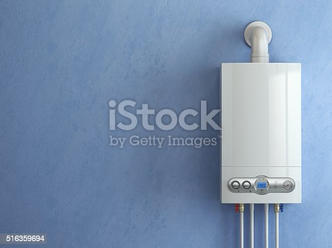 istock Gas boiler on blue background. Home heating. 516359694