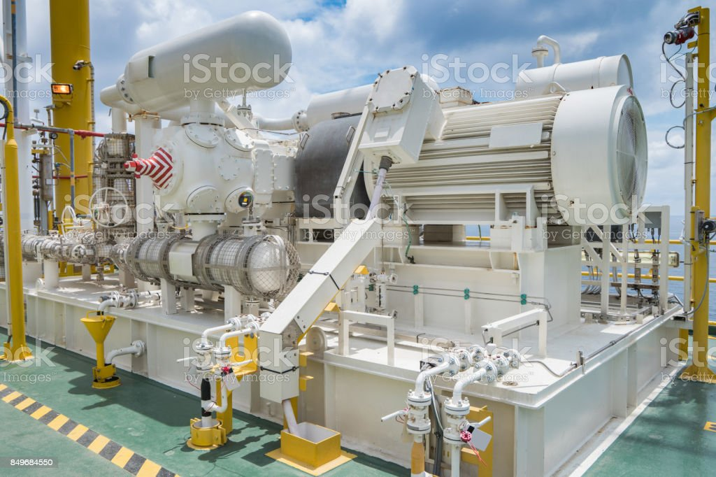 Gas booster compressor in gas vapor recovery unit of oil and gas central processing platform to reduce loss light end gas in process. stock photo