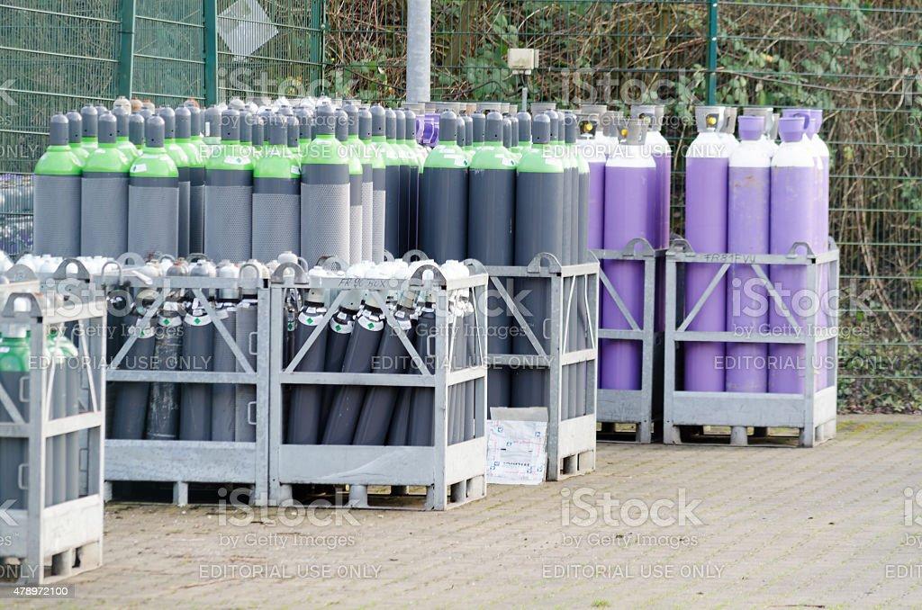 Gas bottle locker a gas factory in Hattingen stock photo