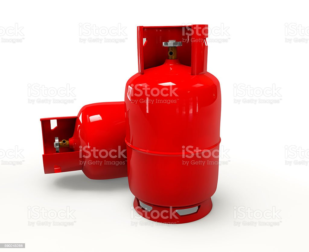 3D Gas Bottle on white background stock photo