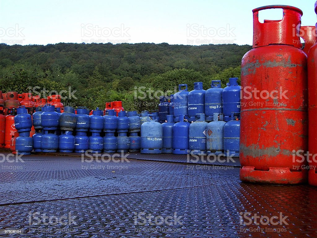 Gas bottle store royaltyfri bildbanksbilder