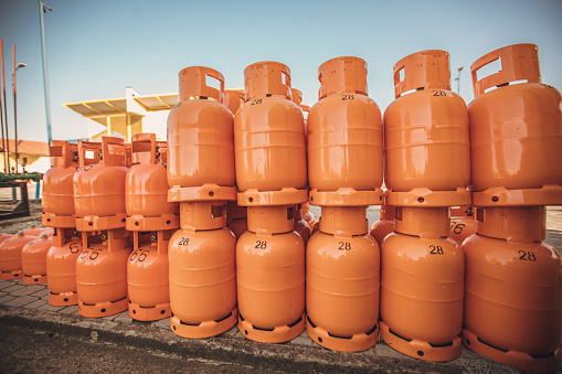 Lpg Gas Bottles At Gas Station Stock Photo - Download ...