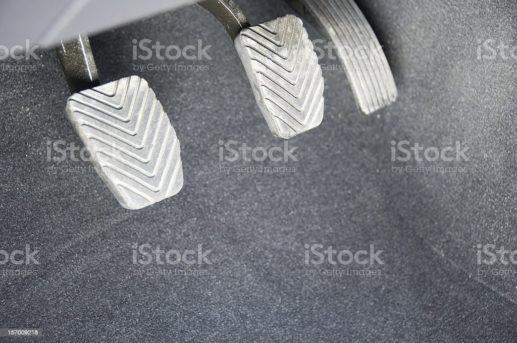 Gas, brake and clutch stock photo