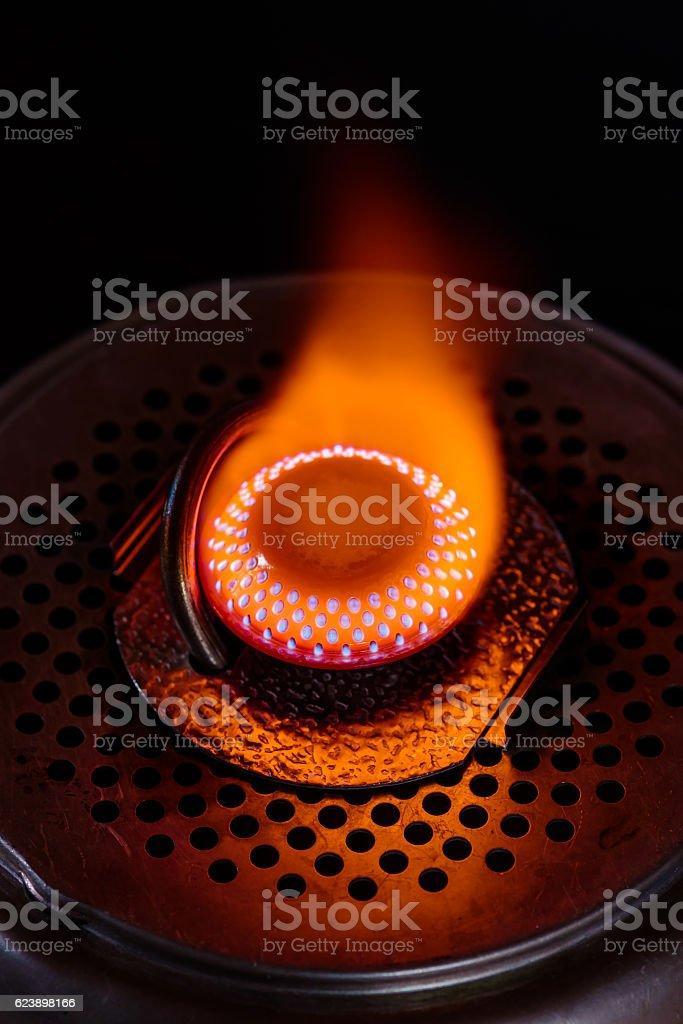 Gas burner fire stock photo