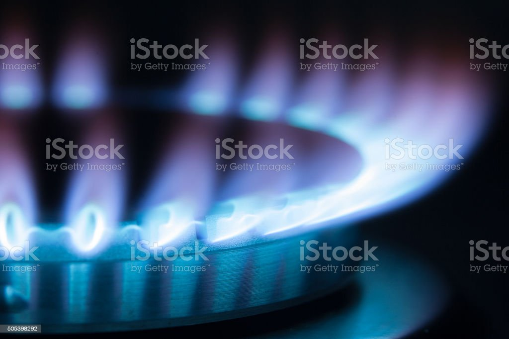 Gas burner flame. Maximum flame stock photo