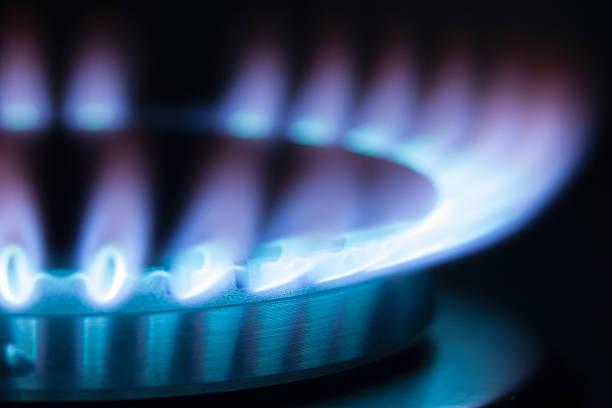 Quemador de Gas de llama. Máximo de llama - foto de stock